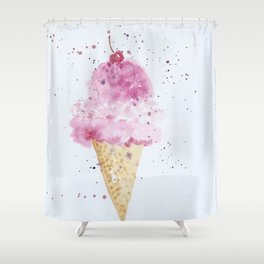 Ice cream Love Summer Watercolor Illustration Shower Curtain