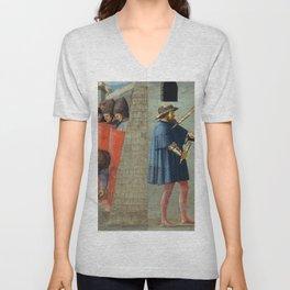 Masaccio - The Crucifixion of Saint Peter and the Decapitation of Saint John the Baptist Unisex V-Neck