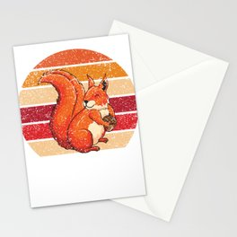 Funny Distressed Retro Vintage Squirrel Lover Stationery Cards
