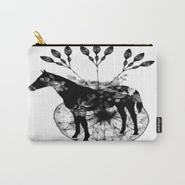 Black and white horse and the flowers Carry-All Pouch