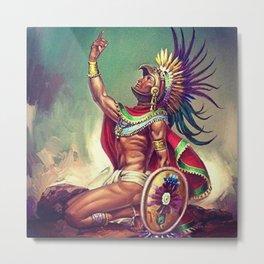Caballero Aguila Aztec Scout Portrait by Jesus Helguera Metal Print