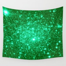 Emerald Green Glitter Stars Wall Tapestry
