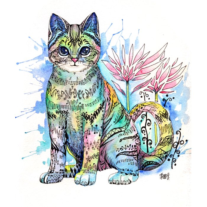 Rainbow Cat with water lily Duvet Cover