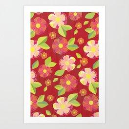 Digital Flowers in Sea of Red Art Print