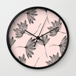 Pink Retro Floral Pattern - Mix and Match with Simplicity of Life Wall Clock