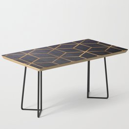 Dark Purple and Gold - Geometric Textured Gradient Cube Design Coffee Table
