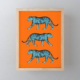 Tigers (Orange and Blue) Framed Mini Art Print