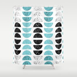Marble Half-Moons in Tiffany Blue Shower Curtain