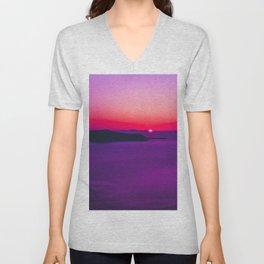 purple sunset in Fira Santorini Unisex V-Neck