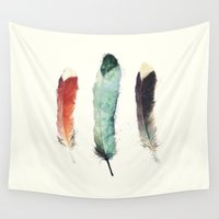 outdoor Wall Tapestries featuring Feathers by Amy Hamilton