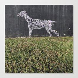 Tel Aviv Walls - Dog Graffiti Black and White Canvas Print