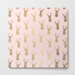 Modern faux gold deer head pattern on blush pink Metal Print