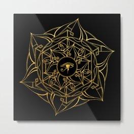 Eye of Horus Mandala Black and Gold Metal Print