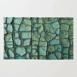 Turquoise cracked wall Rug
