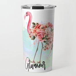 Pink flamingo with roses. Tropical design Travel Mug