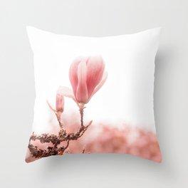 spring magnolia tree Throw Pillow
