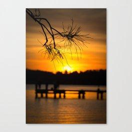 Belmont, Green Point, Australia Jetty at Sunset (Portrait) Canvas Print