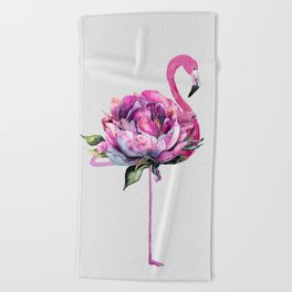 Flower Flamingo Beach Towel