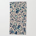Teal Garden - floral doodle pattern in cream & navy blue by micklyn