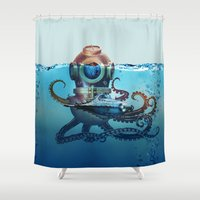 finding nemo Shower Curtains featuring Nemo by Tony Vazquez