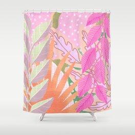 Modern Jungle Plants - Pink Green Purple Shower Curtain