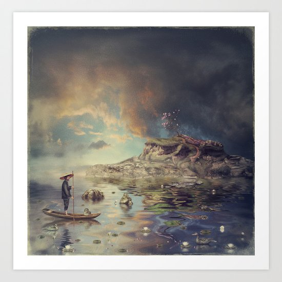Chinese boat in the mist Art Print