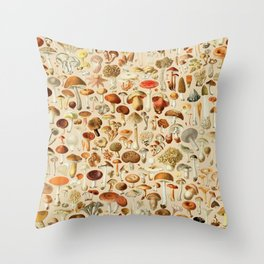 Vintage Mushroom Designs Collection Throw Pillow