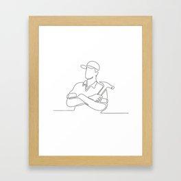 Builder Carpenter Continuous Line Framed Art Print