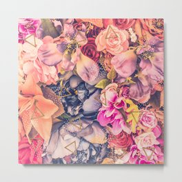 Collage flowers - geometrics Metal Print