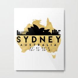 SYDNEY AUSTRALIA SILHOUETTE SKYLINE MAP ART Metal Print