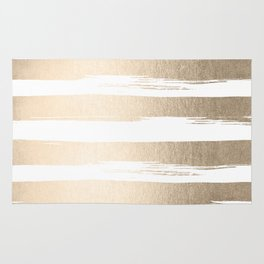 White Gold Sands Painted Thick Stripes Rug