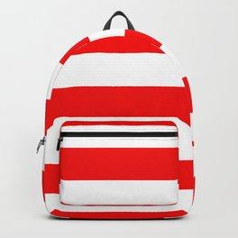 Jumbo Berry Red and White Rustic Horizontal Cabana Stripes Backpack