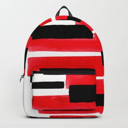 Red Primitive Stripes Mid Century Modern Minimalist Watercolor Gouache Painting Colorful Stripes Backpack