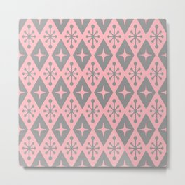 Mid Century Modern Atomic Triangle Pattern 711 Pink and Gray Metal Print