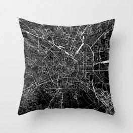 Milan Black Map Throw Pillow