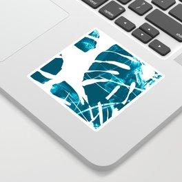Monstera Leaf Blue Sticker