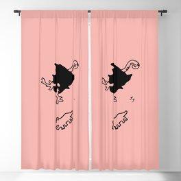 dorky Mujo - Coral pink Blackout Curtain