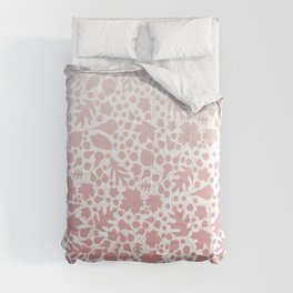 Pink Ombre Leaves Pastel Nature Print 2 Comforters