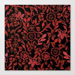 Black Boho Floral Canvas Print