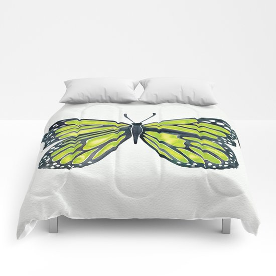 Lime Butterfly Comforters