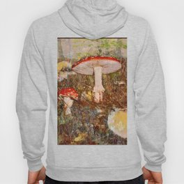 Forest scene with mushrooms in Fall Hoody