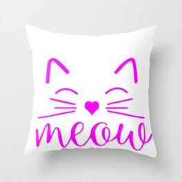 Meow Cute Cat Face. Funny Costume product for Cat Lovers Throw Pillow