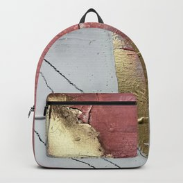 Darling: a minimal, abstract mixed-media piece in pink, white, and gold by Alyssa Hamilton Art Backpack