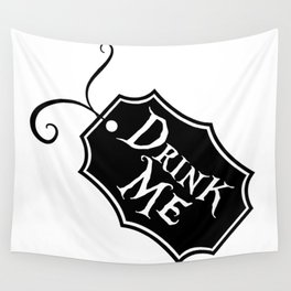 """Drink Me"" Alice in Wonderland styled Bottle Tag Design in Black & White Wall Tapestry"