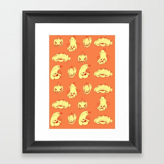 Crazy Pumpkin Party Framed Art Print