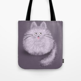 Cute Fluffly cat on pastel purple Tote Bag