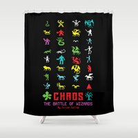 chaos Shower Curtains featuring Chaos by Slippytee Clothing