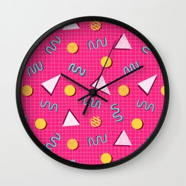 Geometric Memphis in Pink Wall Clock