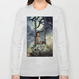 Cute little fairy with kitten on a swing Long Sleeve T-shirt