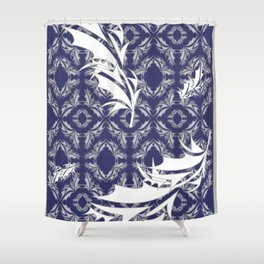 Silver and White Feathers Motif (Navy) Shower Curtain